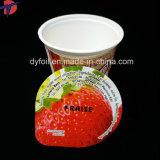 [يوغرت] فنجان بلاستيكيّة مع رقيقة معدنيّة غطاء