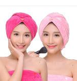 Essuie-main confortables de turban de cheveu de Microfiber d'ouatine de corail promotionnelle