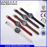 Relógio ocasional da mulher de quartzo da cinta de couro de serviço feito sob encomenda da forma (Wy-105H)