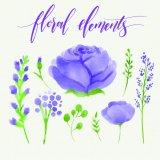 旧式な額縁の現代花のキャンバスの印刷