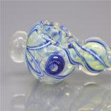 Tubulação de vidro da mão da listra azul da tubulação da colher da tubulação de fumo da tubulação