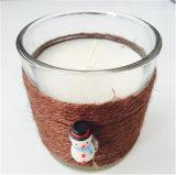 Copo de vidro transparente Decoração de Natal com corda de Ráfia