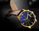 革バンド72914が付いているステンレス鋼のクロノグラフの腕時計