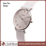 Sliver Super Fina tira de couro genuíno relógios de aço inoxidável para senhora