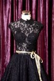 Hi-Низкий шнурок отбортовывая черное короткое платье вечера выпускного вечера коктеила