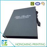 Logotipo luxuoso caixas de jóia pretas gravadas do cartão