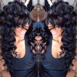 Парик человеческих волос фронта шнурка естественной волны Babyhair перуанской глубокой курчавый