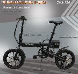 16 بوصة [أل] سبيكة يطوي درّاجة كهربائيّة, [شيمنو] 6 سرعة