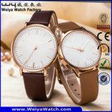 Tira de couro de moda personalizada dois relógios de pulso de quartzo (WY-P17010A)