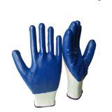 Vente chaude Wearproof lisse recouvert de gants en nitrile travaillant main