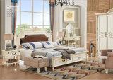 La mobilia moderna della camera da letto progetta la doppia base di legno solido