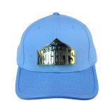 De forma personalizada Sport Cap azul céu algodão PU Baseball Hat com logotipo de Metal