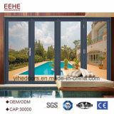 Portello di alluminio di vetro eccellente del blocco per grafici del portello di piegatura di qualità