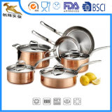 El Cookware de acero cobreado inoxidable triple martillado fija 10PC (CX-SS1007)