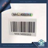Etiqueta de holograma con el número único de código de barras