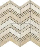 ヘリンボンパターン内壁デザインのためのベージュ大理石のモザイク・タイル