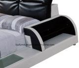 LEDが付いている現代的な寝室セットの現代革記憶のベッド
