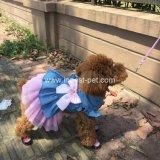 Robe rose bleue de crabot de vêtement d'été d'animal familier de Princesss Bowtie