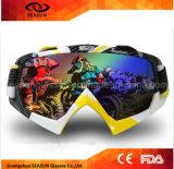 Lunettes de ski de motocross de la lentille UV400 de regain de PC de bâti de l'impression TPU de transfert de l'eau de cru anti