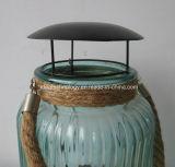 屋外のガラスランタン、ハングロープが付いている蝋燭ホールダーの風防付きランプ