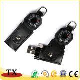 Brújula de cuero funcional de la unidad flash USB con