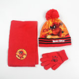 As crianças de Promoção de Inverno Conjuntos de malha de acrílico (HAT, lenços de cabeça, luvas) com pedido de OEM
