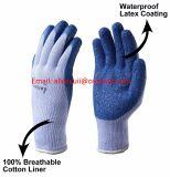 ゴム製構築、青、しわパターンのための乳液によって塗られる作業手袋