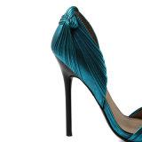 Metálicos personalizados Strappy anudados de banquetes de cuero zapatos de tacón alto