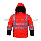 Men's Hi Viz Vêtements de travail extérieur Oxford vestes imperméables Veste d'hiver de sécurité