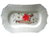 Рождество посуда тиснение белой керамической прямоугольные подают пластину (GW1296)