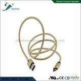 Kabel USB met de Gouden Hoofd en Dubbele Kleurrijke Hoge snelheid Transmsion en het Laden van de Vlecht Matel
