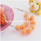 El verano de la moda de joyería fina de resina/Rosa Perlas naturales de la resina de color naranja Pendientes Aros Bling Ecológico (PE-037)