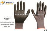 Nylon перчатки работы безопасности раковины Spandex покрынные нитрилом (N2511)