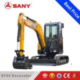 Землечерпалка машинного оборудования конструкции миниого шанца Sany Sy55 5ton выкапывая