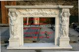 Weißes Carrara Hand geschnitztes  Marmorkamin-Kaminsims Sy-Mf322