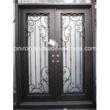 Portas da rua de vidro Crafted da parte superior do arco com ferro