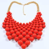 Neue Entwurfs-rote Acrylraupe-Form-Schmucksache-gesetzte Halskette