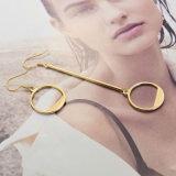 간단한 형식 보석 금 색깔 구렁 둥근 불균형은 하락 귀걸이를 매단다