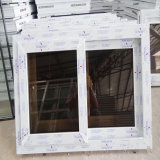 Guichet de glissement blanc en verre gris simple de PVC de bâti