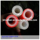 Grado Alimenticio curada al platino transparente tubo de poliéster trenzado de silicona