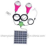 Outdoor Solar Lights System Kit 2 LED Bulbs Power Bank Camp-site Lamp