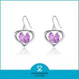 En forma de corazón acepta OEM Arete de plata joyas en Stock (E-0167)