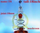 Der Korona-T15 Glaswasser-Rohr Glastabak-Recycler-hohe Farben-Filterglocke-Glasfertigkeit-Aschenbecher-Glasrohr-unbesonnenes bernsteinfarbiges des Becher-1bubble