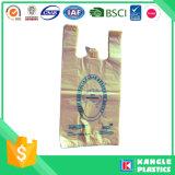 Sac à provisions durable en plastique de T-shirt de prix usine