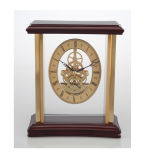 Relógio de esqueleto de madeira de estilo antigo