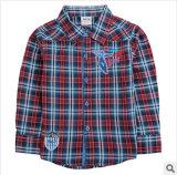 Style de l'automne Le garçon Joker Tee-shirt en coton d'enfants dans la grille de chemises à manches longues Tee-shirt de gros de vêtements des enfants