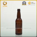 キャップ(043)が付いている無光沢の黒330mlビールガラスビン