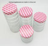 [4بكس] إطار العجلة ثبت خطوط زجاجيّة تخزين مرطبان مع معدن غطاء