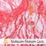 Creadora de moda mayorista bordado con reborde de señoras de tela de encaje