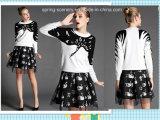 Леди Dress-Printed Swan-Party Dress-Women одежды (D-073)